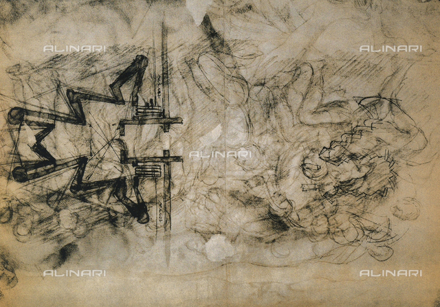 Study of figures and plans for the fortification of Florence; drawing by Michelangelo. Casa Buonarroti, Florence