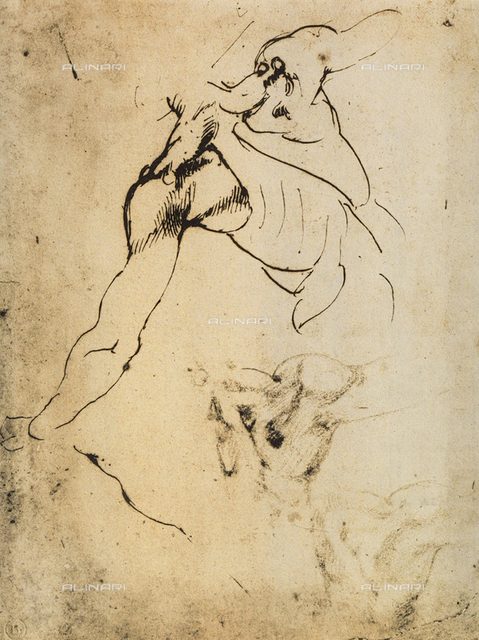 Male anatomical study; drawing by Michelangelo. Casa Buonarroti, Florence