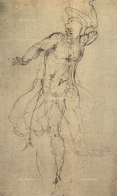 Study for the Last Judgment; drawing by Michelangelo. Casa Buonarroti, Florence