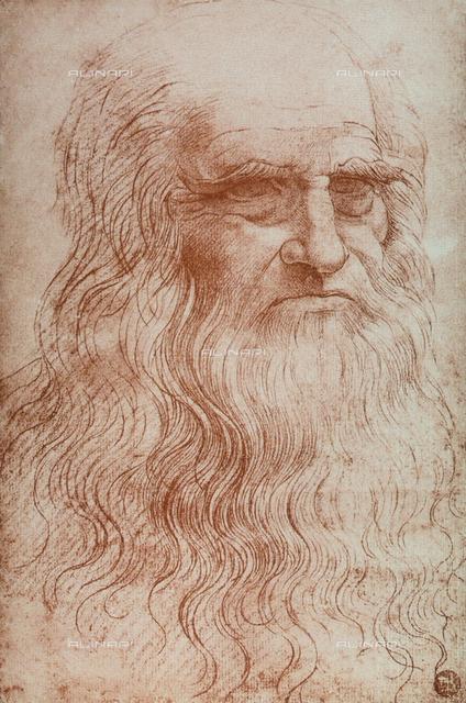 A copy of the famous self-portrait of Leonardo Da Vinci, sanguine, Gallerie dell'Accademia, Venice