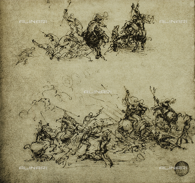 Battle scene; drawing by Leonardo da Vinci. Gallerie dell'Accademia, Venice