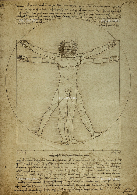 Vinci, Leonardo da (1452-1519), 'Vitruvian man, proportions of the human figure', c.1492, pen and ink on paper, Galleria dell' Accademia, Venice, Italy