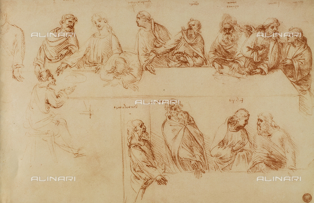 Study for the Last Supper, sanguine drawing, Galleries of the Academy, Venice