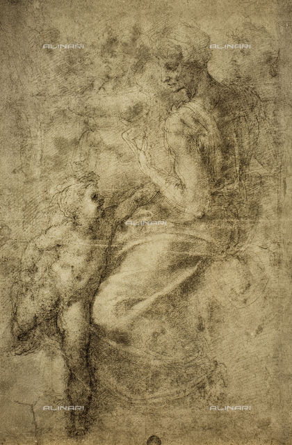 Study for a sibyl of the Sistine Chapel; drawing by Michelangelo. Gallerie dell'Accademia, Venice