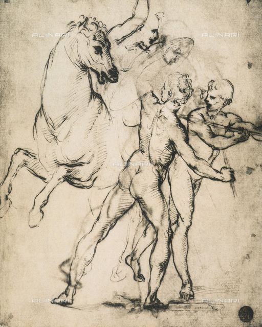 Male nudes with horse, drawing, Gallerie dell'Accademia