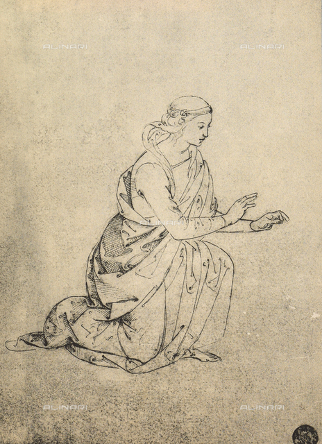 Female figure kneeling, drawing, Gallerie dell'Accademia, Venice