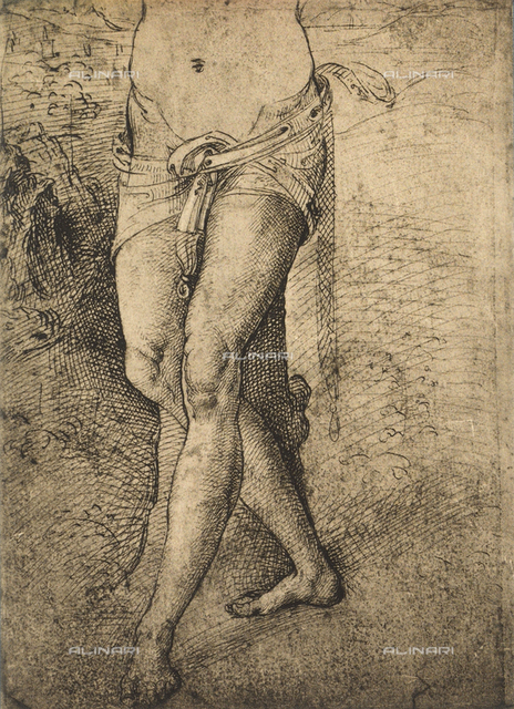 Study for St. Sebastian's legs; drawing by Raphael. Gallerie dell'Accademia, Venice