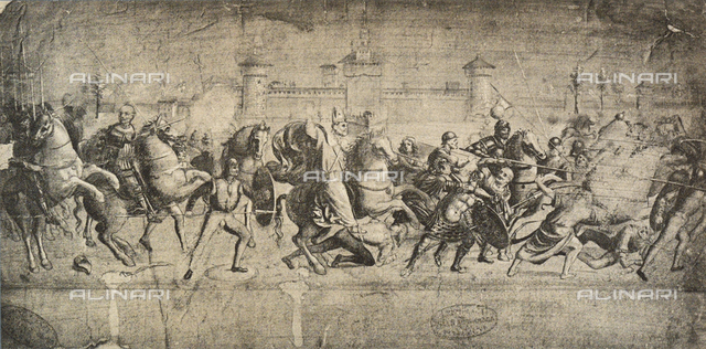 Cavaliers in combat, drawing, Gallerie dell'Accademia, Venice
