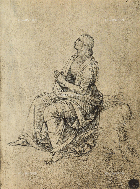 Female figure in prayer, drawing, Gallerie dell'Accademia, Venice