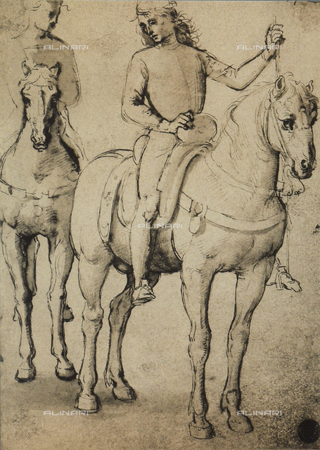 Men horseback, drawing, Gallerie dell'Accademia