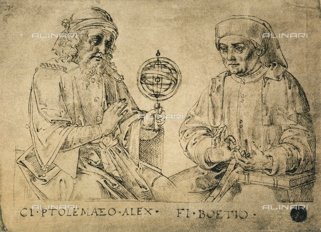 Portrait of Ptolemy and Boethius, drawing, Gallerie dell'Accademia, Venice
