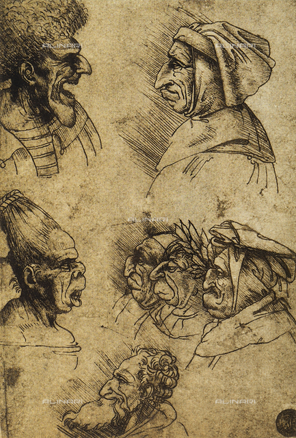Seven grotesque heads, drawing by Leonardo, Gallerie dell'Accademia, Venice