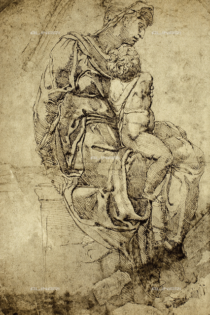 Madonna and Child, drawing, Michelangelo, The Louvre, Paris