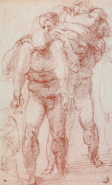 Three men carrying a body, drawing, Michelangelo, The Louvre, Paris