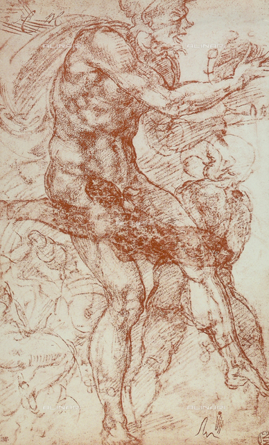 Dancing faun and young satyr, drawing, Michelangelo, The Louvre, Paris