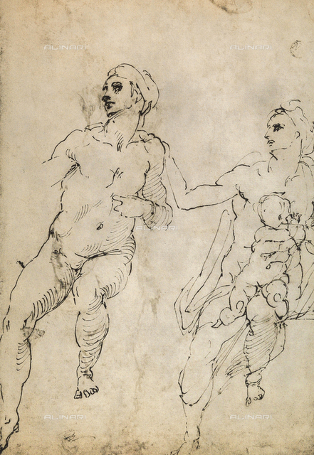Study of a few nude figures, drawing, Michelangelo, The Louvre, Paris