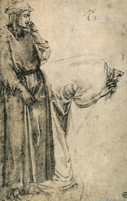 Male figures (copied from Giotto), drawing by Michelangelo, Louvre Museum, Paris
