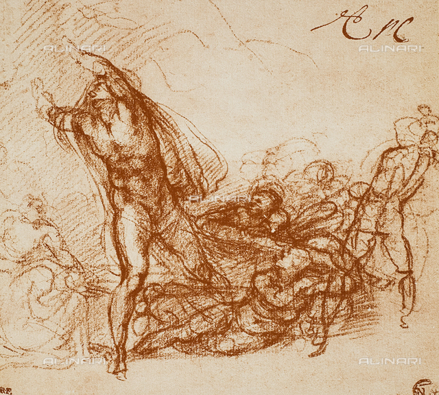 Study for the fresco of the Paolina Chapel, drawing, Michelangelo, The Louvre, Paris