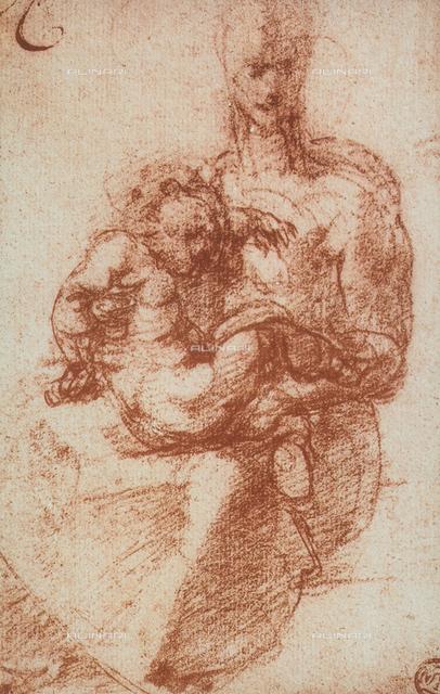 La Vergine con il figlio, disegno, Michelangelo, Museo del Louvre, Parigi