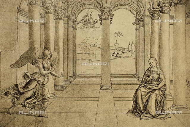 Annunciation, drawing by Raphael, The Louvre