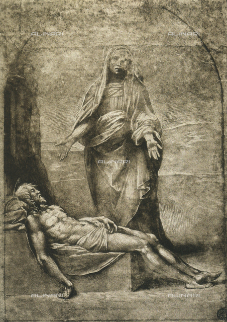 Pietà, drawing by Raphael, The Louvre, Paris