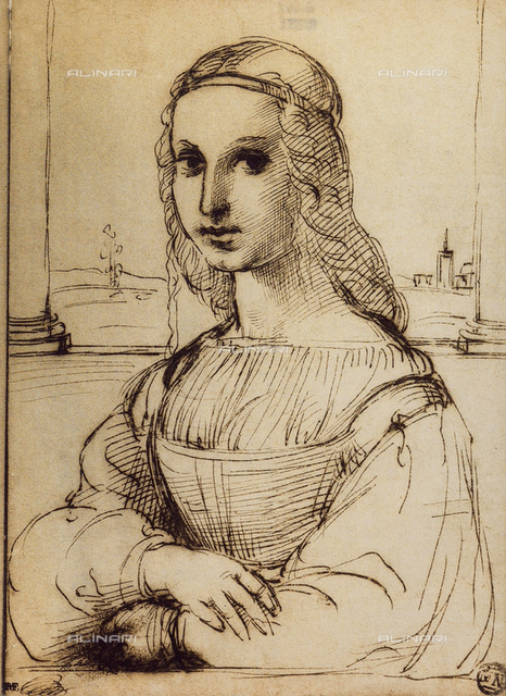 Study for the portrait of Maddalena Doni, drawing by Raphael. The Louvre, Paris