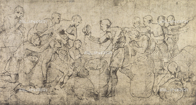 The cup of Joseph found in Benjamin's sack; drawing by Raphael in the Louvre Museum in Paris