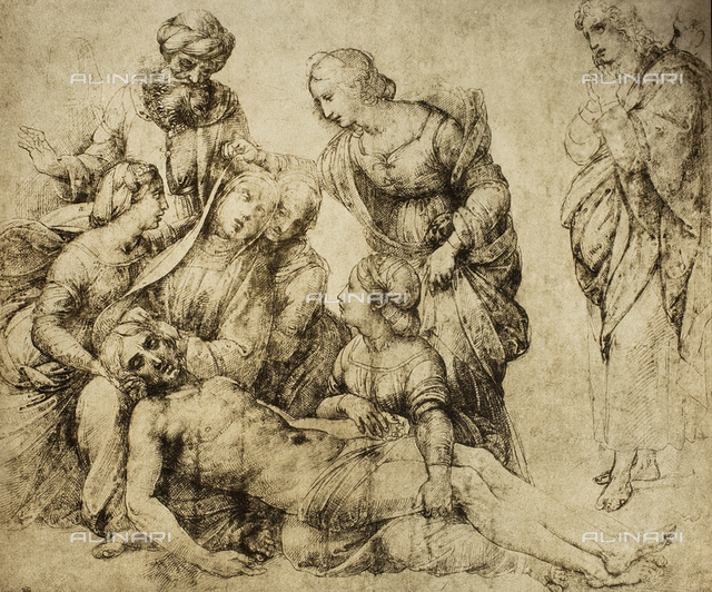 Pieta', drawing by Raphael, The Louvre, Paris