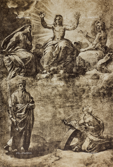Christ in Glory surrounded by the Virgin, St. John the Baptist, St. Paul and St. Catherine of Alexandria; drawing by Raphael, The Louvre, Paris