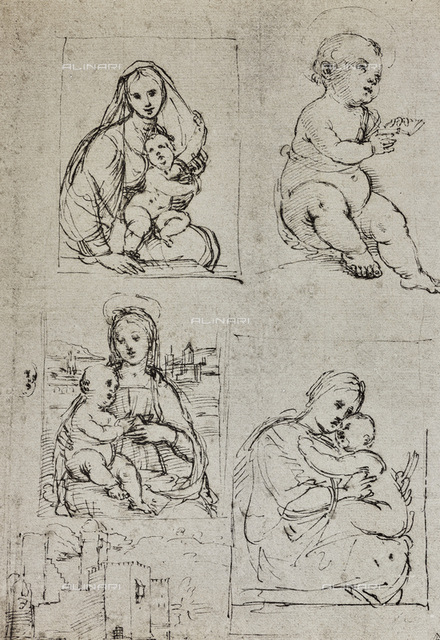 Different studies for the Madonna and Child, drawing by Raphael, The Louvre, Paris