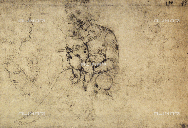 Study of Madonna and Child, drawing by Raphael, The Louvre, Paris