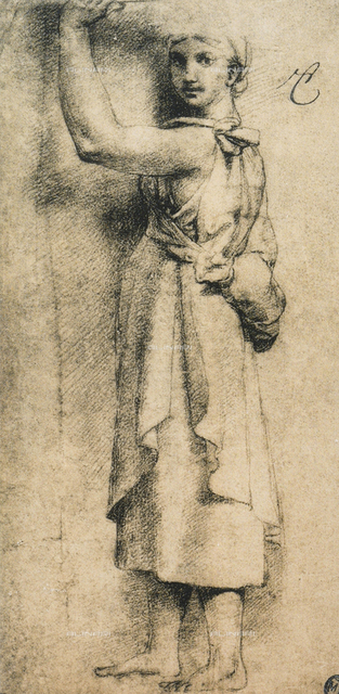 Study for a caryatid of the Camera di Eliodoro in the Vatican; drawing by Raphael. The Louvre, Paris