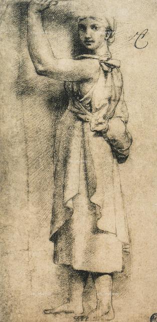 Studio per una cariatide della Camera di Eliodoro in Vaticano, disegno di Raffaello, Museo del Louvre, Parigi