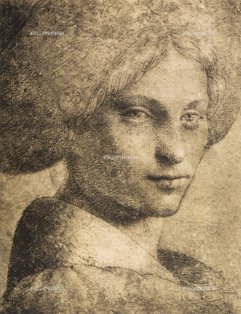 Head of a womand, drawing from the school of Leonardo, The Louvre, Paris