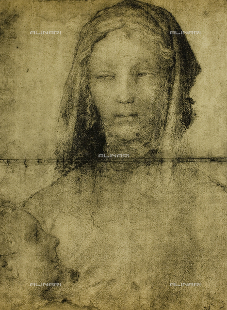 "Study for the Virgin, drawing from the ""school"" of Leonardo, The Louvre, Paris"