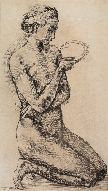 Kneeling woman, drawing from the school of Michelangelo, The Louvre, Paris