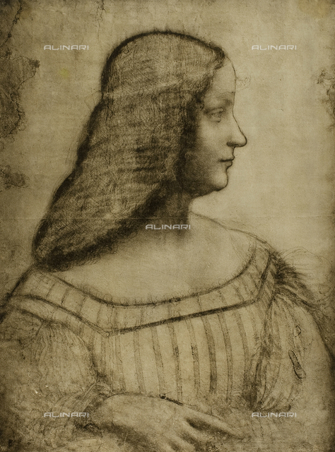 Cartoon for the portrait of Isabella d'Este, charcoal drawing on white paper, housed in the Louvre Museum in Paris