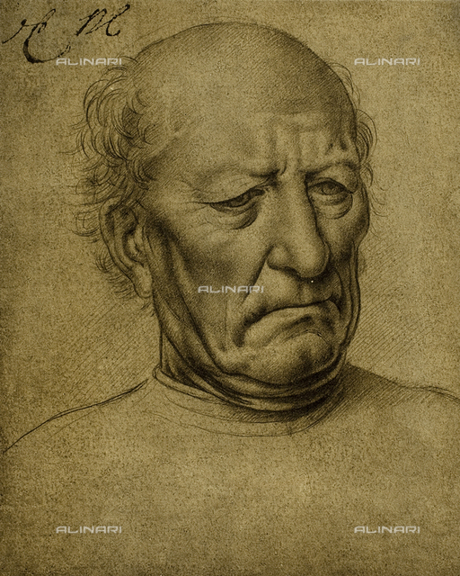 Senile portrait, drawing by Leonardo da Vinci, The Louvre, Paris