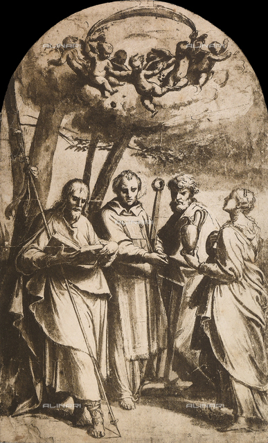 Study for the painting of the four saints, British Museum, London