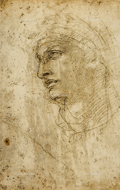 Masculine face, drawing by Michelangelo, British Museum, London