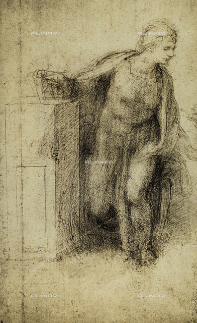 Study for the Annunciated Virgin, drawing by Micheleangelo, British Museum, London