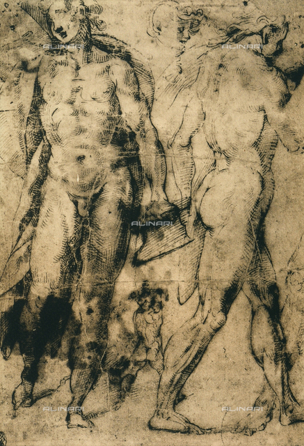 Study of nude male figures, Raphael, British Museum, London