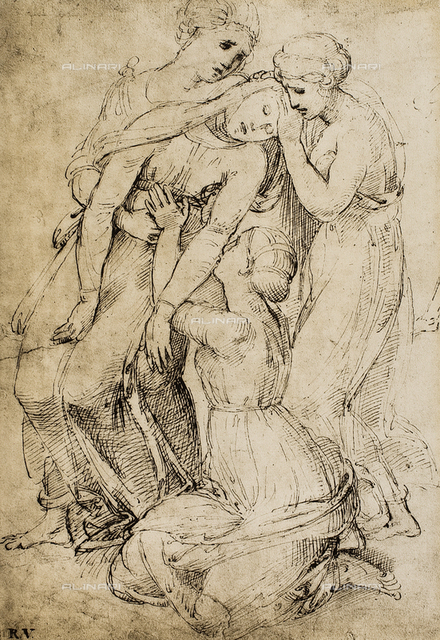 Study for a Deposition; drawing by Raphael. British Museum, London