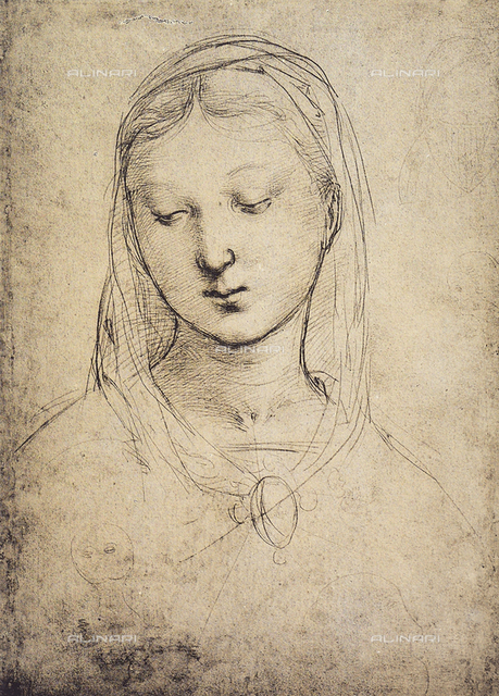 Drawing with the face of the Virgin; by Raphael. British Museum, London