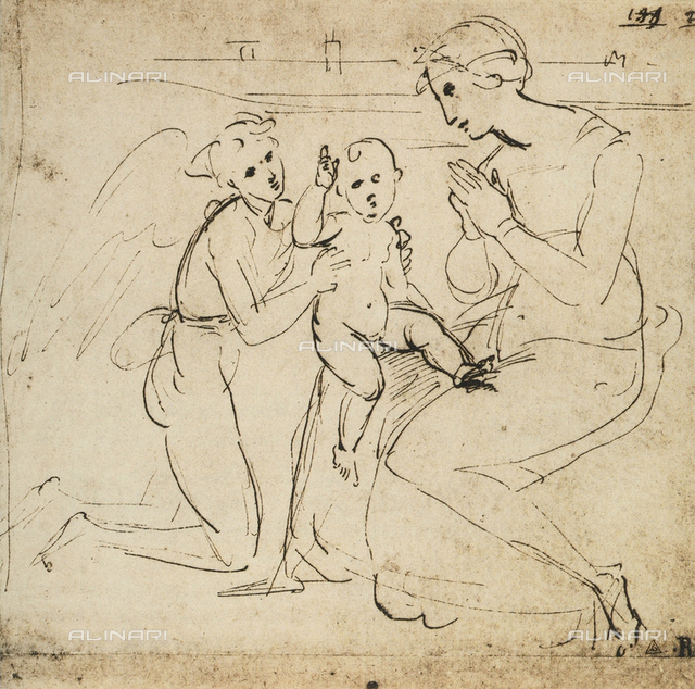 Study for a Madonna and Child and and angel, Raphael, British Museum, London