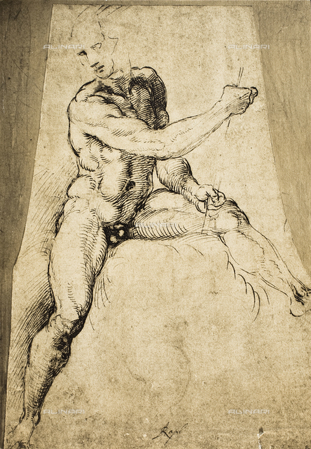 Nude male; drawing by Raphael. British Museum, London