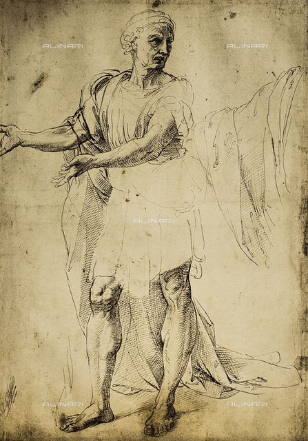 Male figure in a toga; drawing by Raphael. British Museum, London