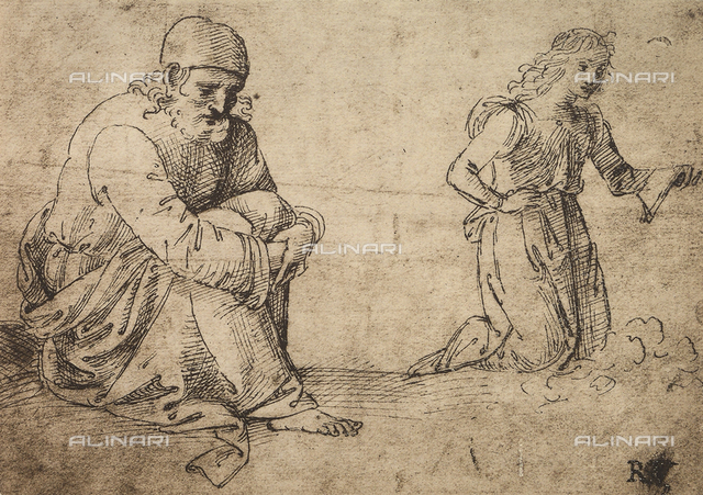 Study of a seated elderly man and a kneeling angel, British Museum, London
