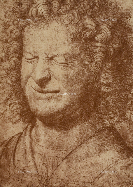 Portrait of a grimacing man, drawing, British Museum, London