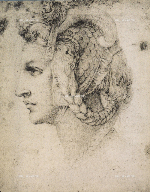 Profile of a young woman; School of Michelangelo, The Louvre, Paris